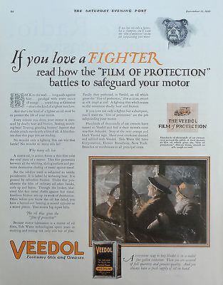 1925 ORIG. PRINT AD VEEDOL MOTOR OIL if you love a fighter driving in winter
