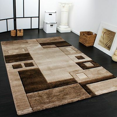 Brown Living Room Rug Designer Carpet Modern Checked Pattern Small Large Rugs
