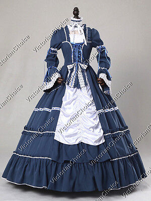Renaissance Lolita Ruffle Dress Ball Gown Steampunk Punk Reenactment Cosplay 125
