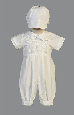 Infant Baby Boys White Cotton Romper Set Christening Baptism Long Pants Isaac