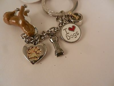 DOG LOVER KEY CHAIN RING * MANY CHARMS * BOXER Bull Dog COLLECTIBLE GIFT