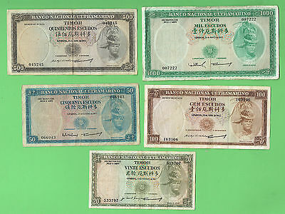 #D177. PORTUGUESE TIMOR 20 to 1000  ESCUDOS 1967-1968  ISSUES, ALL 5 BANKNOTES