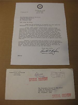 1967 Iowa Governor Harold Hughes Signed letter to Iowa Supreme Court prospect