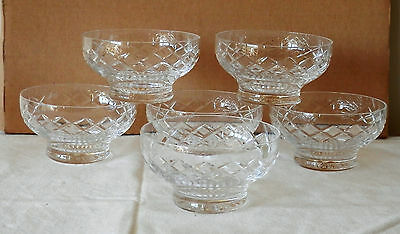 5 X Stuart Crystal Desert Dishes