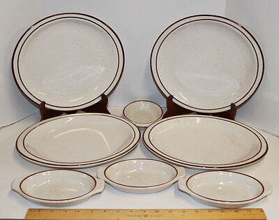 """Syracuse China Brown Bands & Speckeled;  4 - 12"""" Oval Plates + 4 Augratin Dishes"""