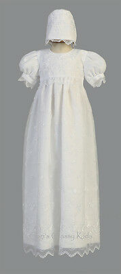 New Baby Girls White Organza 2PC Dress Long Gown Christening Baptism Bonnet 2562
