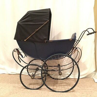 Extremely Rare Antique FA Whitney Wood Baby Carriage Stroller Buggy Pram Vintage