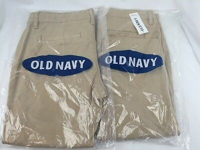 Old Navy Girls Lot of 2 Uniform Pants  8 + Plus Khaki BACK TO SCHOOL  NWT