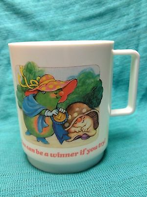 """AVON 1986 Vintage SOMERSAULTS Plastic Mug Cup Miss Pear """"You Can Be A Winner"""""""
