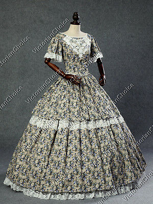 Victorian Southern Belle Civil War Floral Gown Prom Dress Theater Clothing 168
