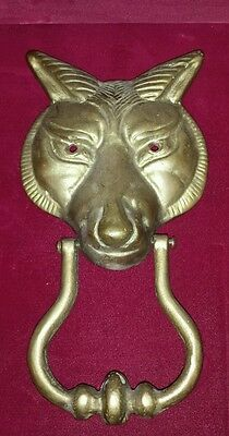 "Large Heavy Vintage Cast Brass Wolf/Fox Door Knocker No screws 8"" X 4.5"" midevil"