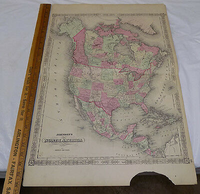 1864 Antique Johnson's HAND-COLOR MAP //  NORTH AMERICA  // 18x26""