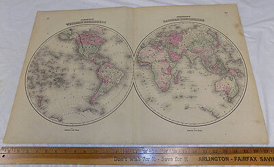 """1864 Antique Johnson's HAND-COLOR MAP / WESTERN & EASTERN HEMISPHERES / 18x26"""""""
