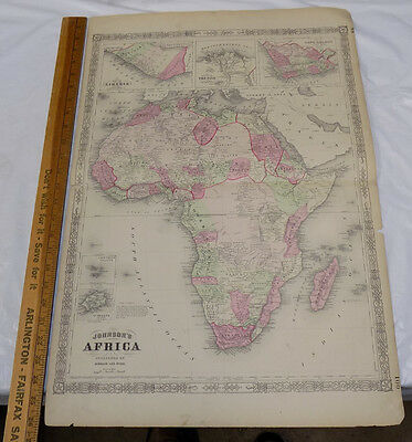 1864 Antique Johnson's HAND-COLOR MAP ///  AFRICA  /// 18x26""