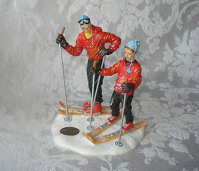 """Norman Rockwell Saturday Evening Post """"skiing"""" Father & Son Snow Skiers Figurine"""