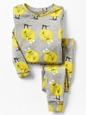 Baby Gap Girls pajama gray yellow bow chick EASTER 6-12  4t NWT