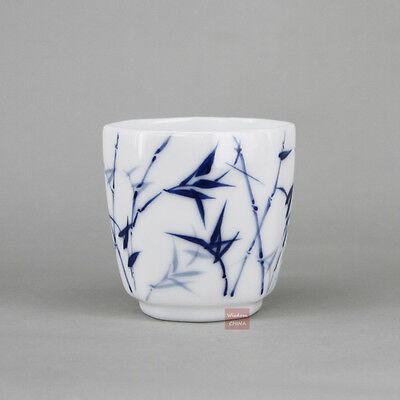 Octagon Hand Painted Bamboo Jingdezhen Blue and White Porcelain tea cup 60cc