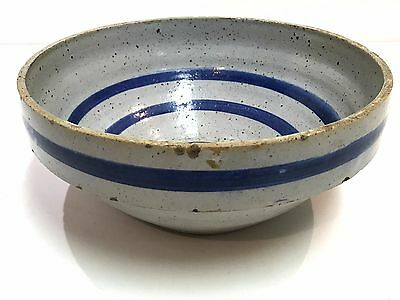 "Antique Blue Stripe Band 12.5"" W Kitchen Serving Mixing Bowl Primitive Stoneware"