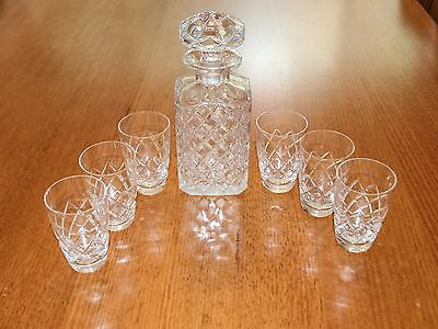 Beautiful BOHEMIA Crystal Antique Whisky Decanter & Glasses
