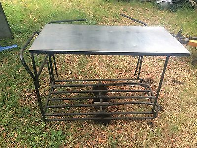 Vintage Industrial Table/Trolley with Stainless Steel Top
