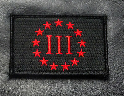 Three 3% Percenter Flag 2Nd Amendment Nra Velcro® Brand Morale Patch (Mte6)