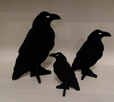 3 Black Felt 3D Ravens - 3 Sizes Fall Thanksgiving Table Centerpiece Home Decor