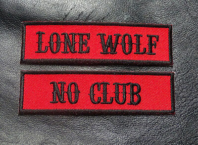 Lone Wolf No Club Embroidered Name tag 2pc iron on Patch