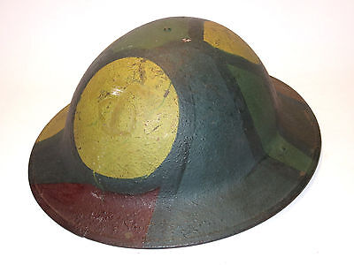Original WWI US Army 90th Division 357th Inf Reg camo M1917 helmet with liner