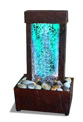 Fountain Color Water Changing Waterfall LED Light Tabletop Desk Elegant Relaxing