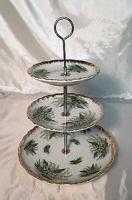 RARE Antique Napco Demitasse Lilies Lily of the Valley 3 Tier Plates Tray Stand