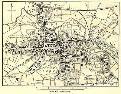 Map of Colchester cente, antique print, 1880s