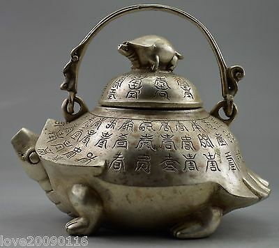 Collectible Decorate Old Handwork Silver Plate Copper Carve Tortoise Big Tea Pot
