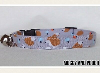 Handmade Cute Hedgehog Cat Collar, Safety Release Buckle, Bell And Charm