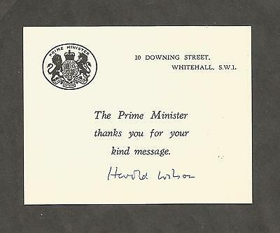 Hand Signed Offical Downing Street Card HAROLD WILSON British Prime Minister