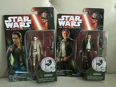 """Star Wars The Force Awakens ~Han Solo & Rey With Resistance Outfit~3.75"""" Figure"""