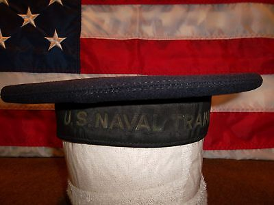 "WWI U.S. Navy Dress Blues ""flat"" hat-U.S. Naval Training Station-Beautiful!"