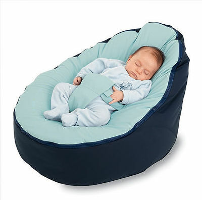 Baby Bean Bag Cover - Unfilled With 2 Removable Covers & Harness - Navy Blue