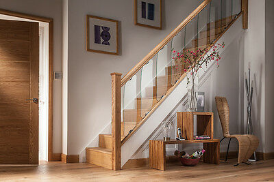 AXXYS Clearview Glass, Chrome and Oak Stair and Landing Balustrade Sets
