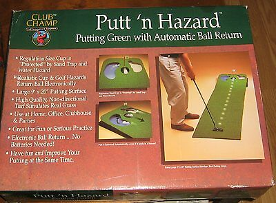 Club Champ Putt n' Hazard,Home or Office Practice Putting Green,Auto Ball Return