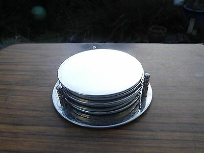 Vintage Set of 6 Silver Plated Coasters with Holder