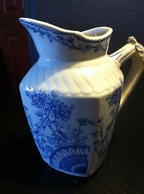 Antique 19th century  White Ironstone Blue White Floral Pitcher  SELBORNE
