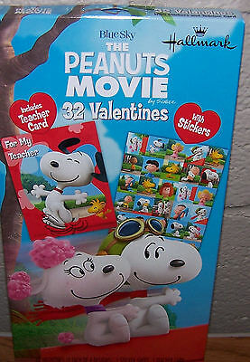 Valentines Day Cards (Box of 32) Hallmark The Peanuts Movie Snoopy with Stickers