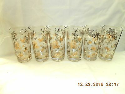 Set of 6 Gold Butterfly & Bumble Bee 12 oz Tumblers Glasses Excellent Condition