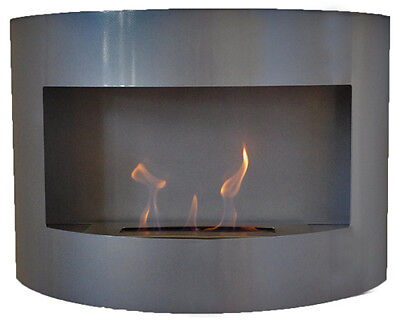 Bio Ethanol Fireplace RIVIERA DELUXE Silver Wall Fire Place with Firebox 1 Liter