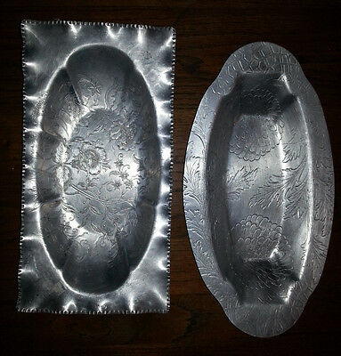 2 Hammered Aluminum Bread Trays Floral Chrysanthemum Admiration Products Ruffled
