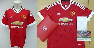 2015-16 Man Utd Home Shirt Signed by FA Cup Winners with Official COA (9477)