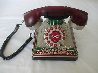 Coca Cola Stained Glass Art Deco Telephone - Push Button Dialing