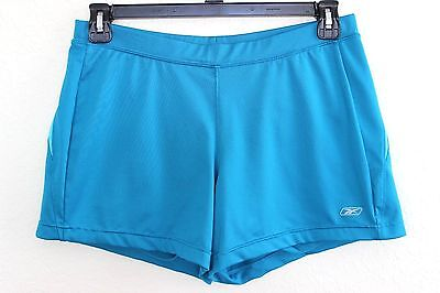 REEBOK Play Dry Women's Lined Blue Fitted Athletic Running Gym Shorts L