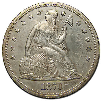 1870 Seated Silver Liberty $1 Dollar Coin Lot# MZ 3910