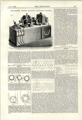 1891 2 Hp Rotary Current Motor Lauffen Frankfort Engraving